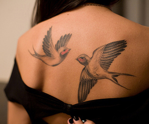 brunette, shoulders, and tattoo image