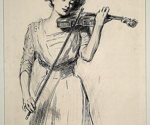 art, girl, and violin image
