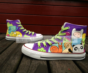 custom converse, adventure time, and high top sneaker image
