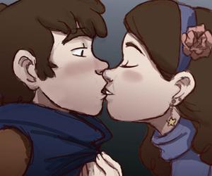 kiss, kissing, and gravity falls image