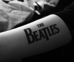 the beatles, tattoo, and black and white image
