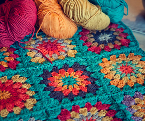 crochet, granny squares, and weekending image