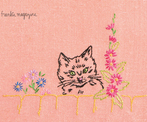 cat, flowers, and sewing image
