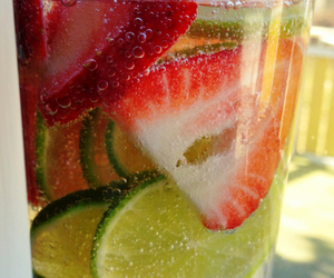 fruit, drink, and strawberry image