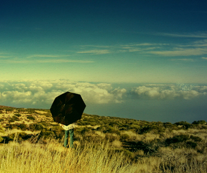 umbrella, clouds, and sky image