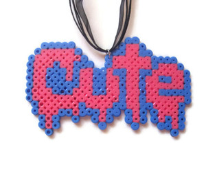 creepy cute, perler beads, and cute necklace image