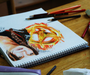 katniss, drawing, and the hunger games image