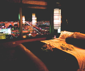 bedroom, city, and night image
