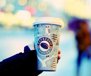 blue, bokeh, and coffee image