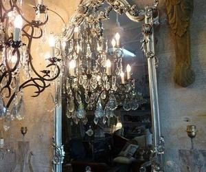 chandelier, mirror, and victorian image