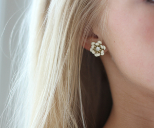 earrings, blonde, and flowers image