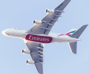aircraft, emirates, and plane image