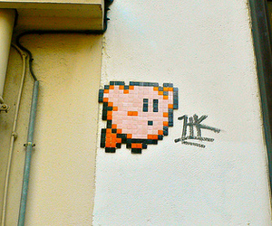 kirby, space invaders, and street art image