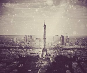 paris, eiffel tower, and snow image