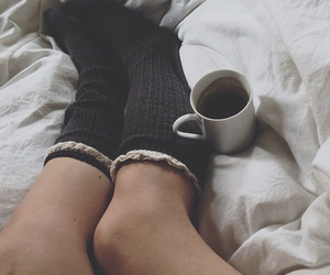 bed, socks, and coffee image