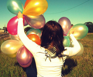 balloons, colors, and girl image