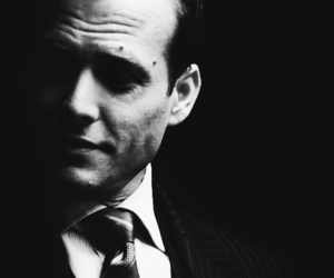 black and white, suits, and harvey specter image