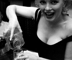 black and white, Marilyn Monroe, and drink image