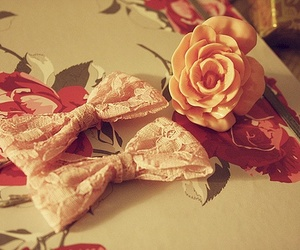 bow, flowers, and rose image