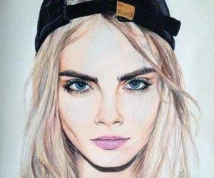drawing, cara delevingne, and model image