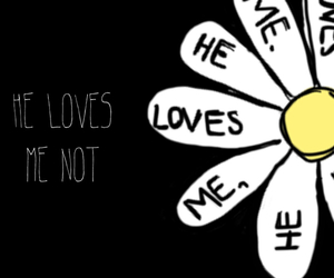 black and white, he loves me not, and words image