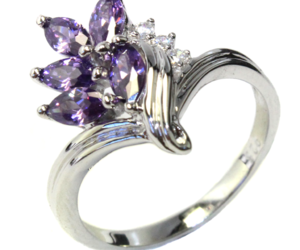 purple ring, flower ring, and purple flower ring image