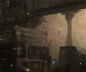 blade runner, concept art, and cyberpunk image