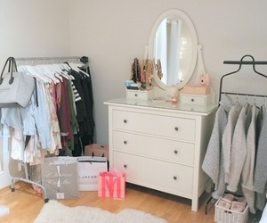 white, bedroom, and clothes image