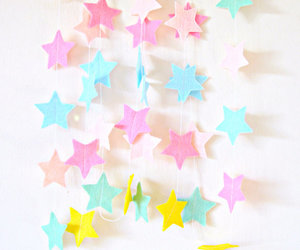 pastel felt garland and pastel star garland image