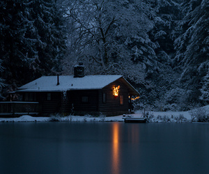 lodge, snow, and nature image