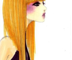 girl, hair, and draw image