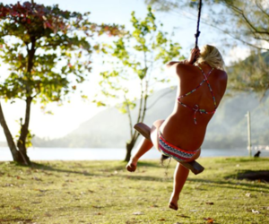 girl, summer, and swing image