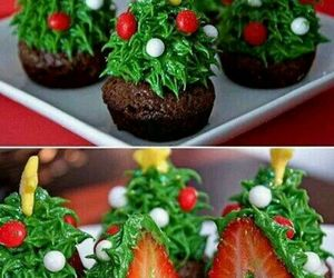 christmas, strawberry, and cupcake image