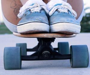 vans, girl, and longboard image