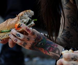 tattoo, girl, and food image