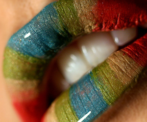 colorful, lips, and rainbow image