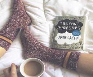 book, coffee, and socks image