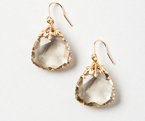 earrings, crystal, and gold image