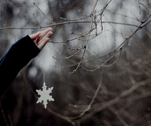 snowflake, hand, and winter image