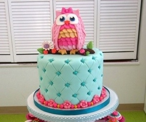 cake, owl, and cupcakes image