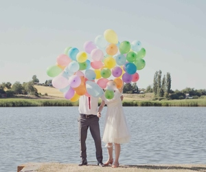 balloons, colors, and couple image