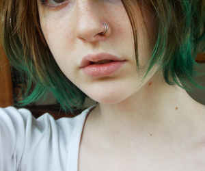 girl, green hair, and piercing image