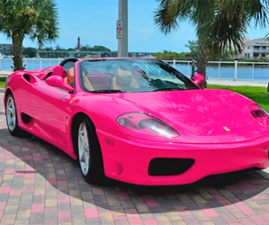 pink, car, and ferrari image