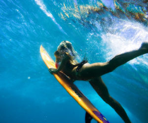 girl, surf, and ocean image