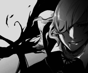 anime, bad, and black and white image