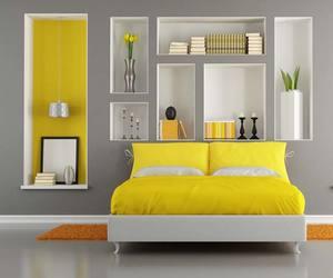 bedroom, comfortable, and yellow image
