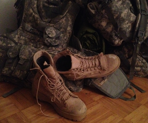 army, combat boots, and military image