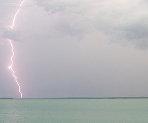 ocean, lightning, and sea image