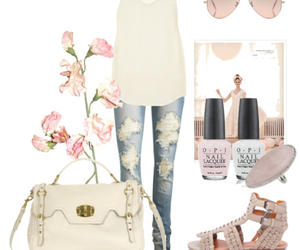 nail polish, outfit, and ripped jeans image