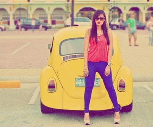 girl, car, and yellow image